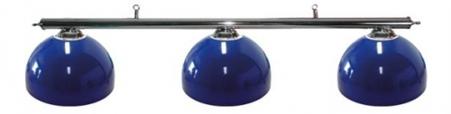 POOL TABLE LIGHTING WITH CHROME BAR AND 3 BLUE DELUXE METAL SHADES