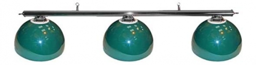 Pool Table Lighting with Chrome Bar and 3 Green Deluxe Metal Shades