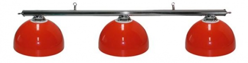 Pool Table Lighting with Chrome Bar and 3 Deluxe Red